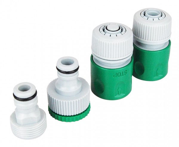 4-teiliges Gartenschlauch Adapter Set.